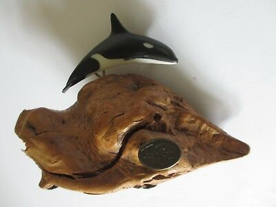 VINTAGE ORIGINAL John Perry  Sculpture Killer WHALE Orca  On Burlwood Base