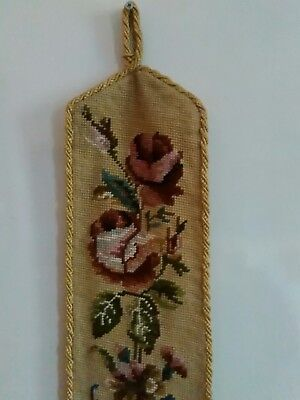 large wool tapestry bell pull flowers roses 59 inches tassles gold