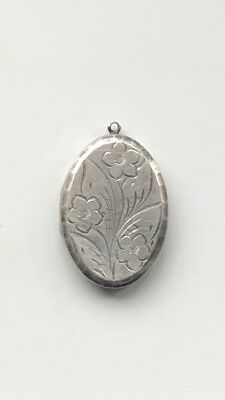 Antique Victorian Sterling Silver Guilt Oval Locket With Engraved Flowers Design