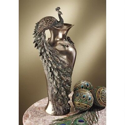 "Art Deco Style 19.5"" Sculptural Grand Royal Peacock Sculpted Centerpiece Deocr"