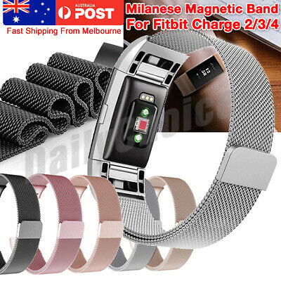 For Fitbit Charge 3 2 Band Metal Stainless Steel Milanese Loop Wristband Strap