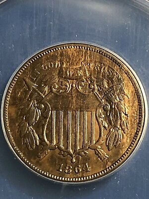 "1864 2C Two Cent Piece Large Motto ANACS MS62, ""Woodie"" Breen 2372 Lamination"
