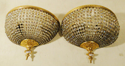 Antique French empire style bronze and crystal pair of sconces (1188)