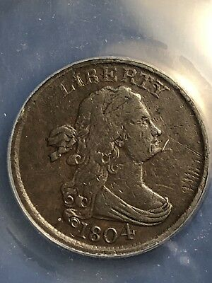1804 DRAPED BUST HALF CENT - SPIKED CHIN Variation, VF25 Details