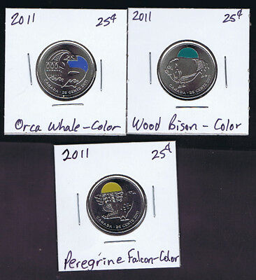 2011 Canada OUR LEGENDARY NATURE 3 Color 25-cents Coins - Falcon, Bison & Whale