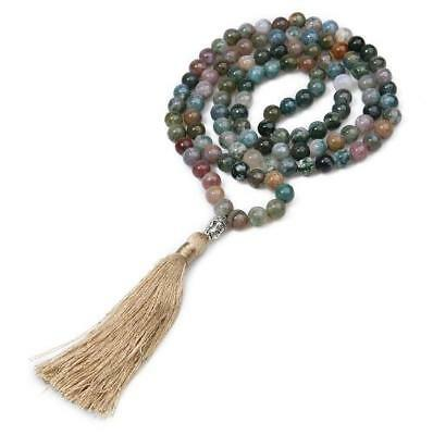6mm108 Indian agate beads necklace Gemstone energy Buddhism Fancy mala Tassel