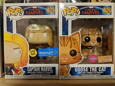 Funko Pop Captain Marvel #432 Exclusive, Goose the Cat Flocked BoxLunch #426