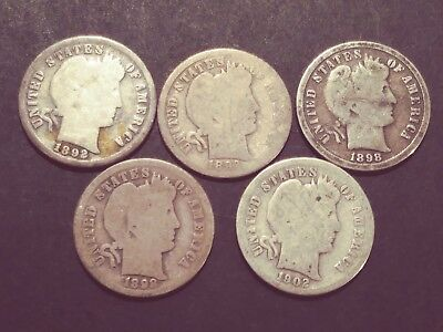Nice Lot of Five (5) Better Date Barber Dimes
