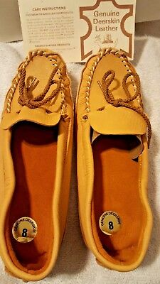 New Sport Togs Deerskin Leather Moccasins Shoes Size 8 New Without Tags