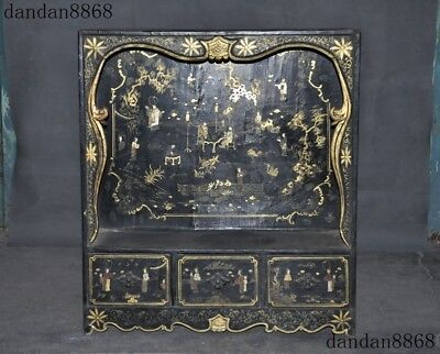 """25""""Marked Chinese lacquerware wood Gilt painted Ancient character Fokan Shrines"""