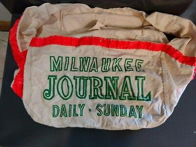 Vintage Milwaukee Journal Daily - Sunday Canvas NEWSPAPER BOY Carrier Bag