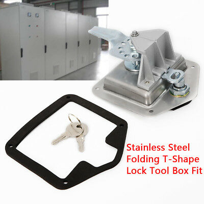Stainless Steel Folding T-Shape Handle Lock Tool Box Keys Kit f Truck Trailer