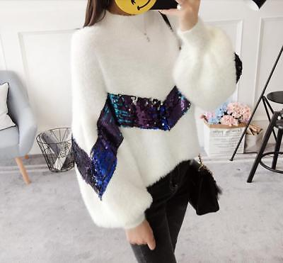 Womens Sweety Cute Sweaters Bling Bling Sequins Loose Casual Tops