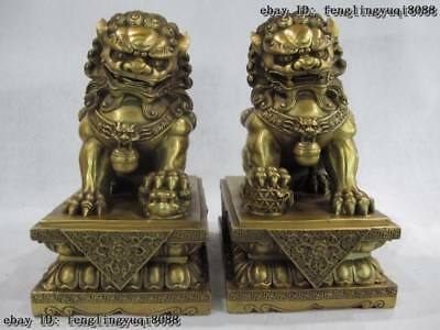 10 Chinese Brass Copper Palace Door Guardian Evil Feng Shui Fu Foo Dog Lion Pair