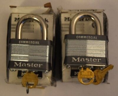"2x Master Lock 5KA Heavy Duty 2"" Wide Pad Lock Keyed Alike A383 - New Open Boxes"