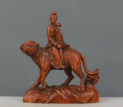 Chinese Exquisite Hand-carved Bodhisattva tiger carving Boxwood statue