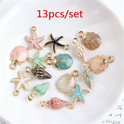 13Pcs/set Conch Sea Shell Charms Ocean Pendants DIY Handmade Craft Making Decor