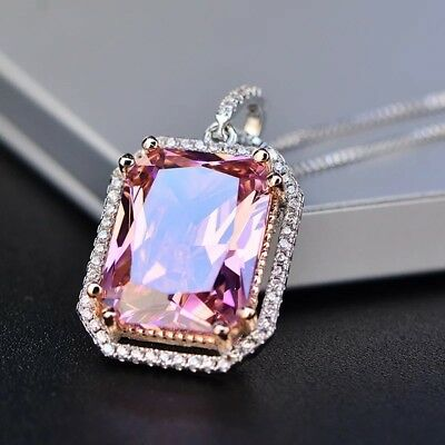 Stunning white gold gp white & pink emerald cut necklace earrings