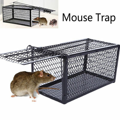1x Large Galvanised Metal Humane Collapsible Rat Mouse Trap Cage Easy Bait AU