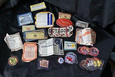 Variety of Vintage coupons and brand labels collected (1940's/1950's)