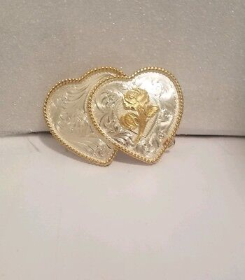 RARE. two mixed metal HEARTS - western Montana Silversmiths Vintage Belt Buckle
