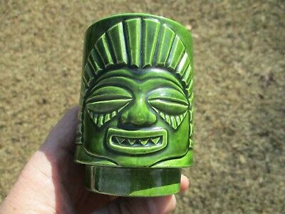 Scarce Vintage Dated 1968 Signed R. Grossi Tiki Cup Pair Cups Different Hawaiian