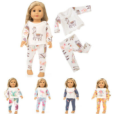 Printing Pajamas Suit Doll Clothes for 18 Inches Girl Doll Accessories Gift YC