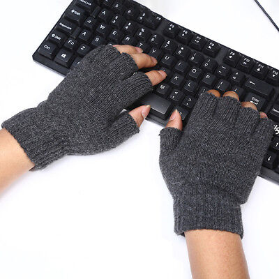 USA Men Knitted Wool Fingerless Half Finger Stretch Thermal Mittens Gloves