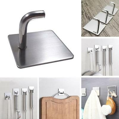 Stainless Steel Adhesive Hook Key Bathroom Kitchen Towel Hanger Wall Mount New