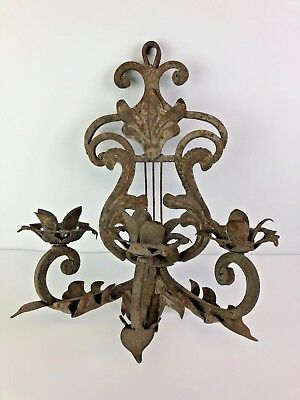 Architectural Cast Wrought Iron Wall Candle Sconce Primitive Flower Detail Atq