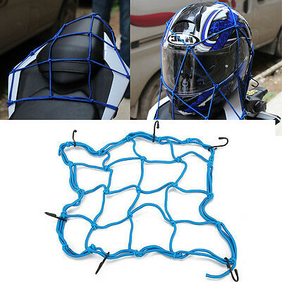 Blue Motorcycle Motorbike Bike ATV Cargo Net Web Mat Baggage Carrier Helmet Mesh