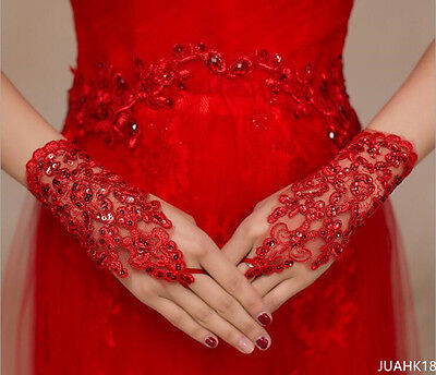 New Lace Red Fingerless Short Paragraph Rhinestone Bridal Wedding Gloves Party