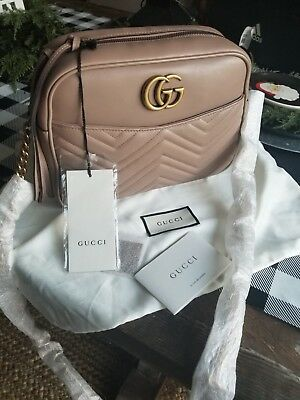 cef63b7852f 100%AUTHENTIC GUCCI GG Marmont Matelassé Medium Shoulder Bag ...