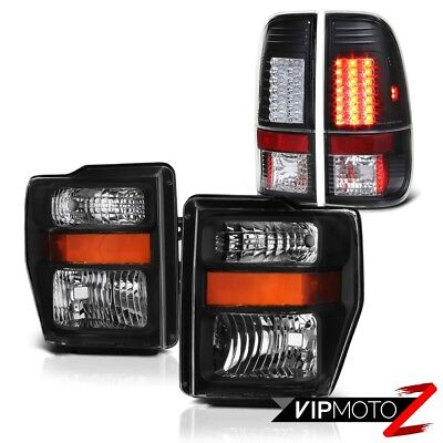 FORD 08-10 F250 F350 SD ALL Black LED Signal Tail Lights Headlights LEFT RIGHT
