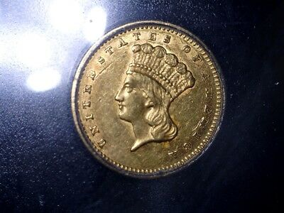 1862 GOLD Dollar $1 Gold Indian Princess, ICG AU 58, Civil War Issue,No Reserve