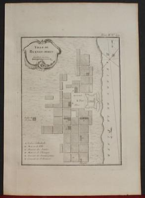 Buenos Ayres Argentina 1764 Bellin Antique Copper Engraved Engraved City Chart