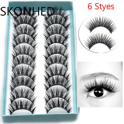 SKONHED 10Pairs 3D Faux Mink Hair False Eyelashes Long Thick Fluffy Wispy Lashes