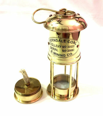 """Jahrgang Messing 7 """"Minor Oil Lamp Nautical Maritime Mining Schiff Laterne Boot"""