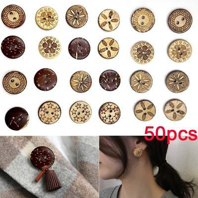 50Pcs Wood Round Handmade 2 Holes Wooden Buttons Sewing Scrapbooking DIY Buttons