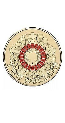 2015 Anzac $2 Coin Two RED Dollar Coin- Free Postage!!! Remembrance Great BUY