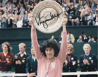 VIRGINIA WADE Signed 10x8 Photo WIMBLEDON TENNIS Champion COA