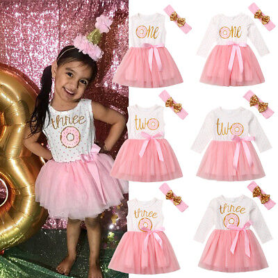 2Pcs Newborn Baby Girls Donut Birthday Tutu Tulle Skirt Headband Outfits Clothes