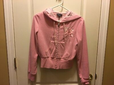 49c2d351f12 Bebe Pink Terry Sweatsuit Set W/floral embroidery and embellishment Size S
