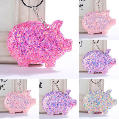Trendy Cute Pig Key Ring Sequins Glitter Keychain Gifts Women Bag Car Access New