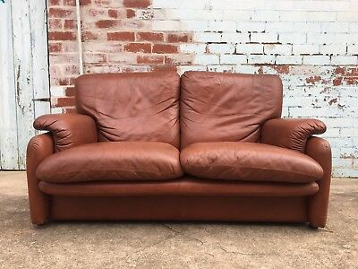 Vintage 1980s Italian LEATHER COUCH 2-seater Lounge Brown Hollywood Regency
