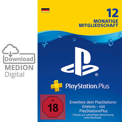 Sony PlayStation Plus 12 Monate Mitgliedschaft Download Code PS4 PS3 PS Vita PSP