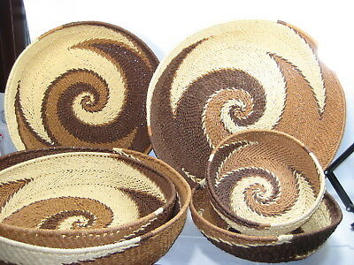 Stunning Soft Wicker Set Of 6 Nesting Baskets Swirl Browns Creams Med-Lg-Xlarge