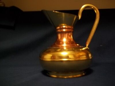 vintage English brass and copper pitcher ,brass water jug or vase