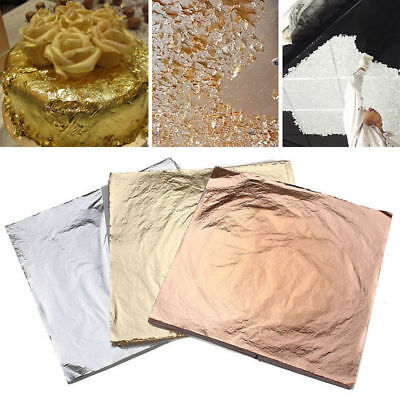 100 sheets Imitation Gold Silver Copper Leaf Foil Paper Gilding Art Craft 14x14