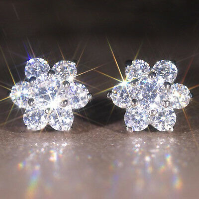 Fashion Sparkly Ladies/Girls 925 Sterling Silver Plated Crystal Stud Earrings
